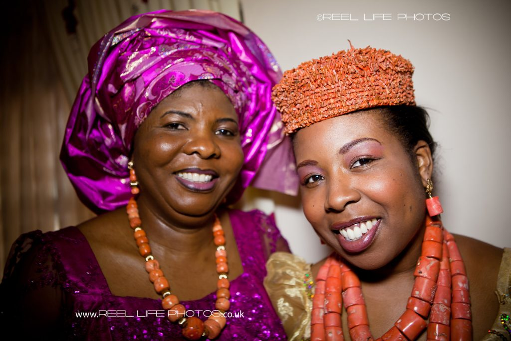 Coral necklaces as part of traditional wedding in Nigeria