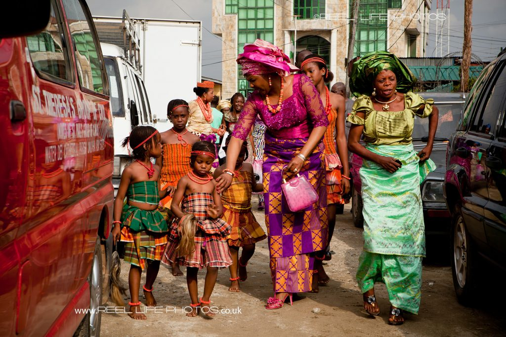The wedding party arrives for wedding reception in Port Harcourt, Nigeria