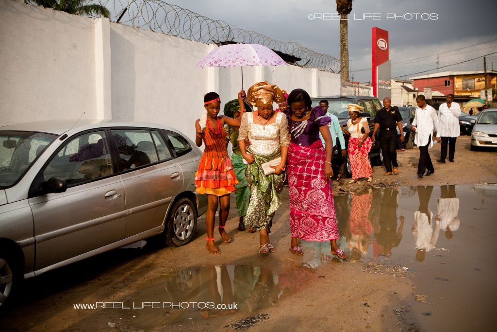 Wedding in Nigeria as the bride arrives