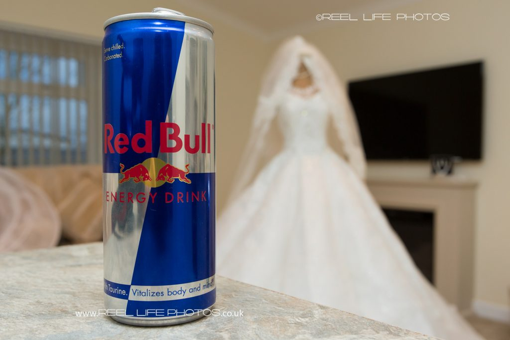 red bull and traveller bride's wedding dress.