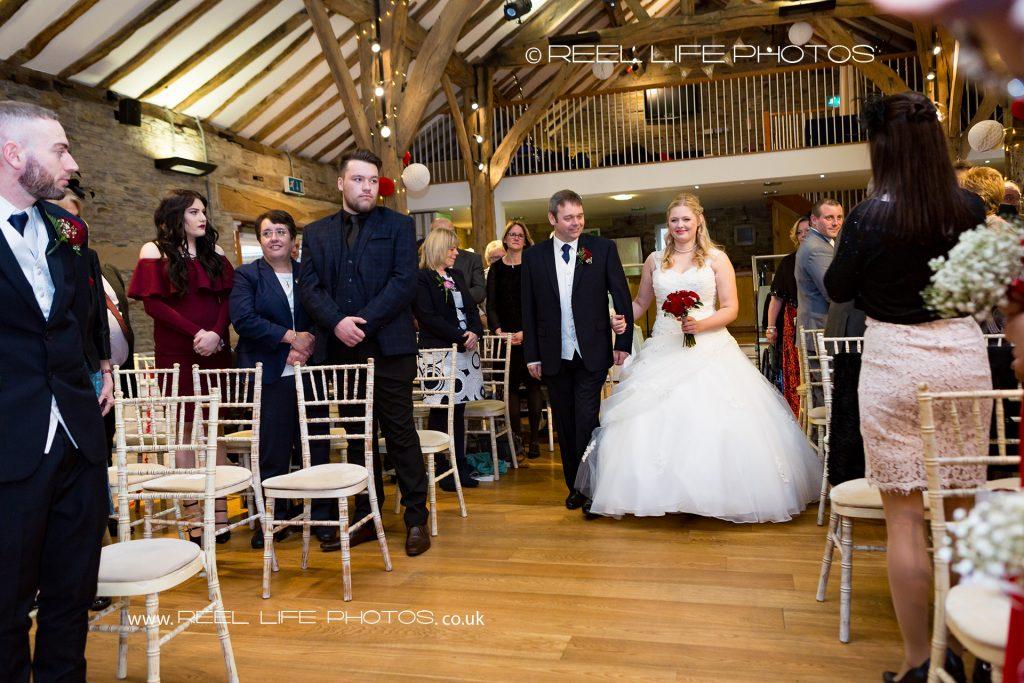 wedding ceremony at Northorpe Hall Barn