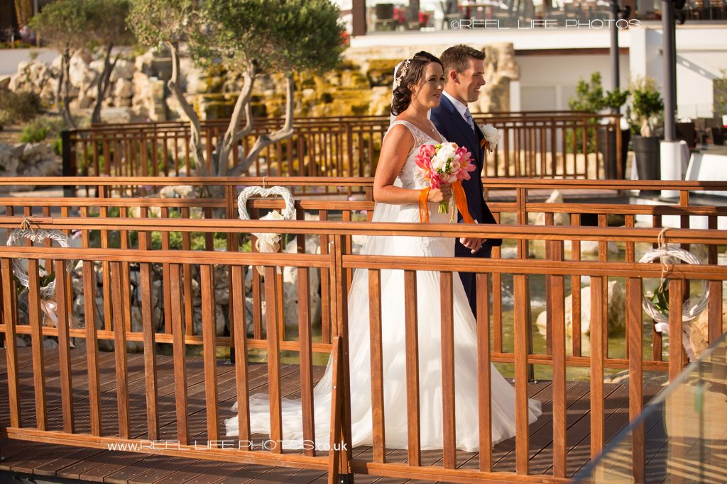 Outdoor wedding reception by the sea