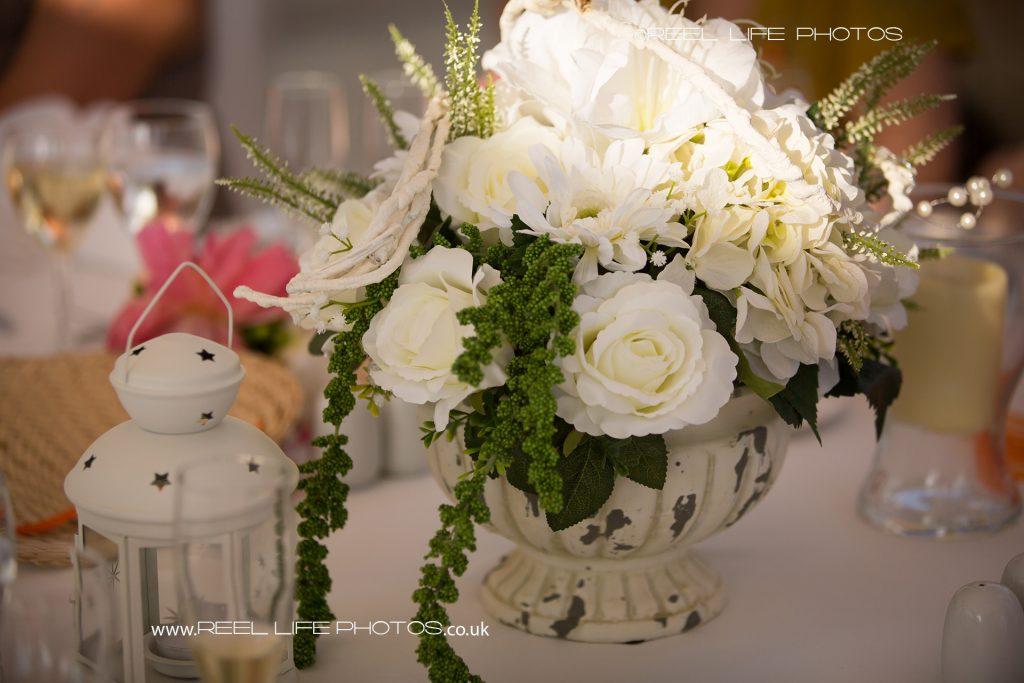 wedding decorations at outdoor wedding reception