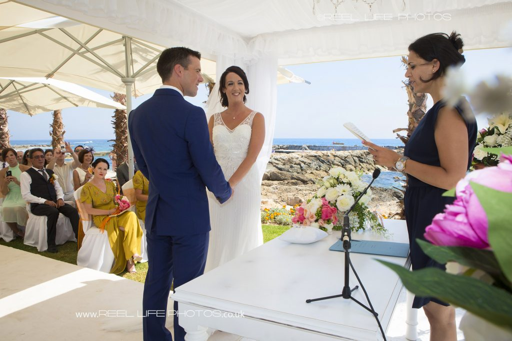 Beach wedding photography at the Olympic Lagoon in Cyprus