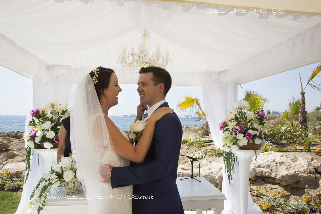 Beach wedding ceremony in Cyprus at the Olympic Lagoon in Paphos