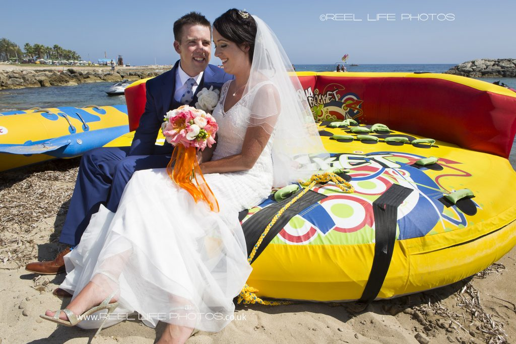 bride and groom by the sea in Paphos