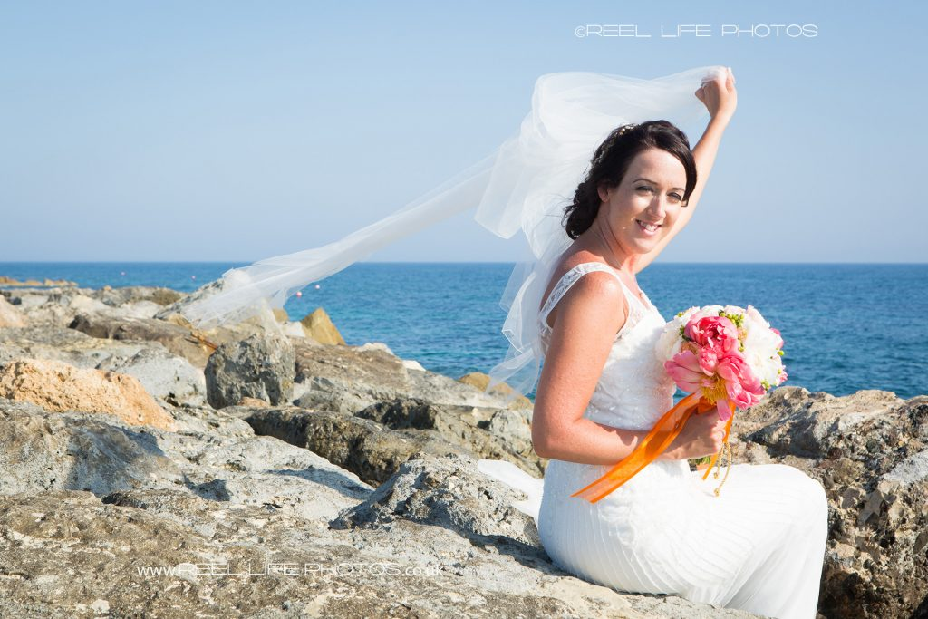 bridal wedding photography by the sea in Cyprus