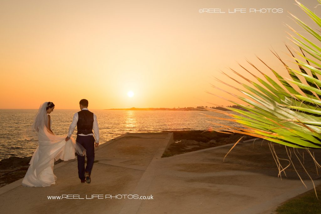 Wedding photography at sunset at the Olympic Lagoon in Cyprus
