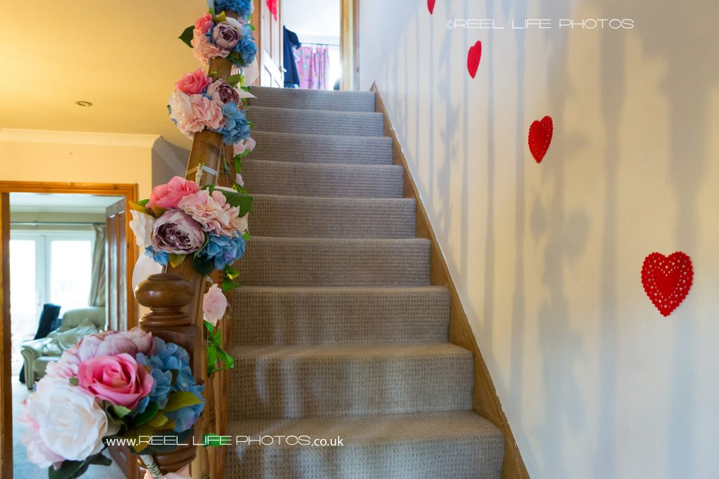 flower decorated staircase for wedding