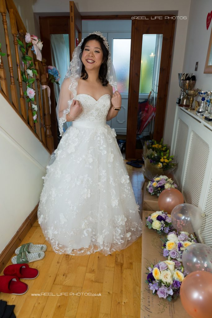 Chinese bride in her wedding dress